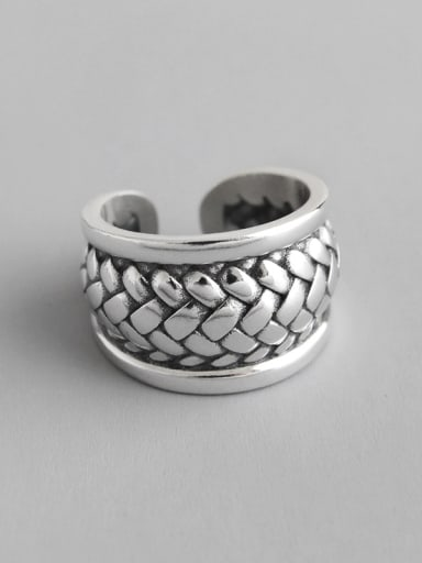 925 Sterling Silver With Vintage Weave Lines Free Size Rings