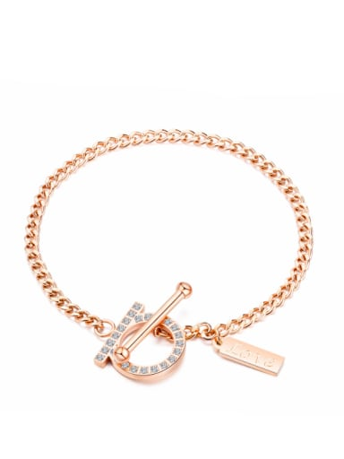 Stainless Steel With Rose Gold Plated Simplistic Monogrammed Bracelets