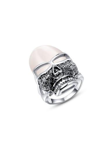 Personality Platinum Plated Geometric Opal Ring