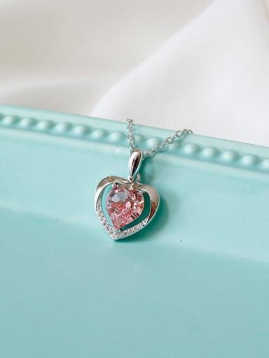 Fashion Heart shaped Zircon Silver Necklace