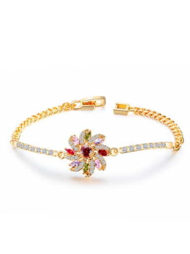 Copper With 18k Gold Plated Ethnic Flower Bracelets