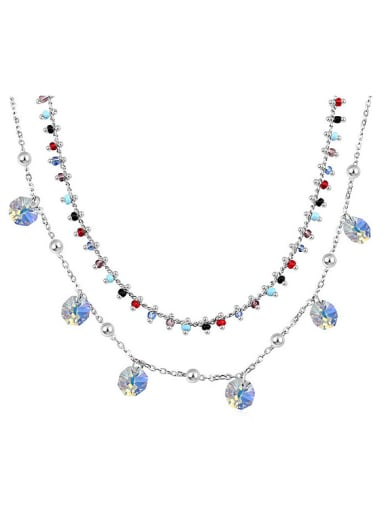 Personalized Double Layer Little Swarovski Crystals Alloy Necklace