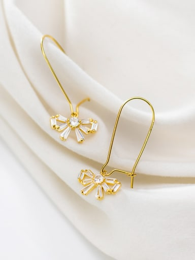 925 Sterling Silver With Cubic Zirconia Simplistic Bowknot Hook Earrings