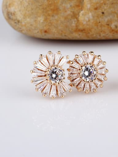 Sterling Silver Ear Needle Champagne Gold Plated Anti-allergic Double Circle Zircon stud Earring