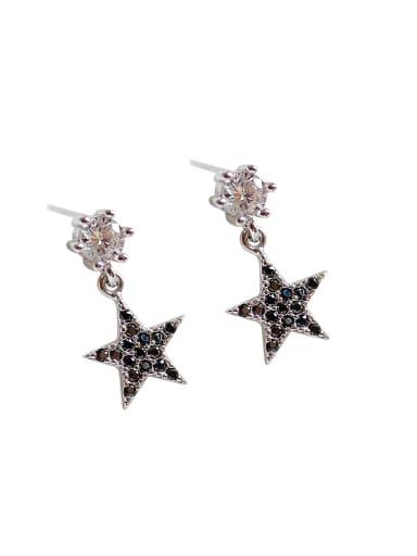 Fashion Black Star Cubic Zircon Silver Stud Earrings