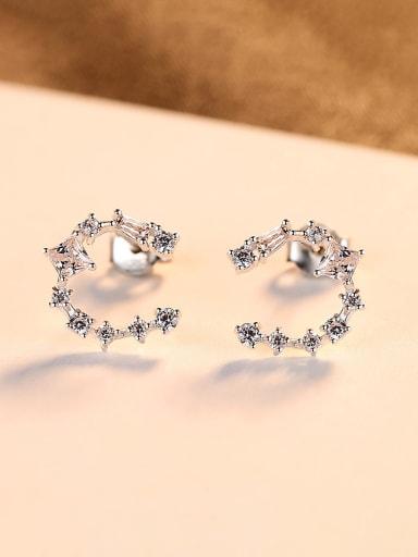 925 Sterling Silver With  Simplistic Geometric Stud Earrings