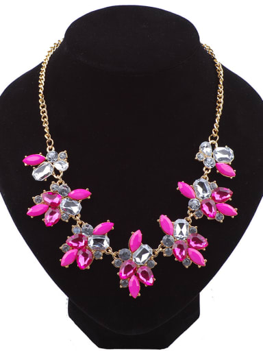 Fashion Geometrical Resin Flowery Pendant Rose Gold Plated Necklace