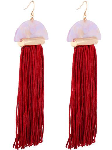 Fan-shape National Style Tassel Drop Earrings