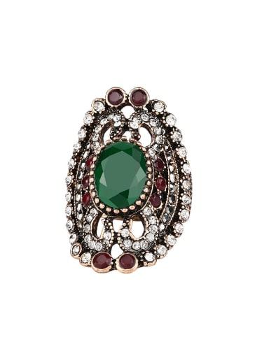 Retro style Bohemia Resin stones Crystals Alloy Ring