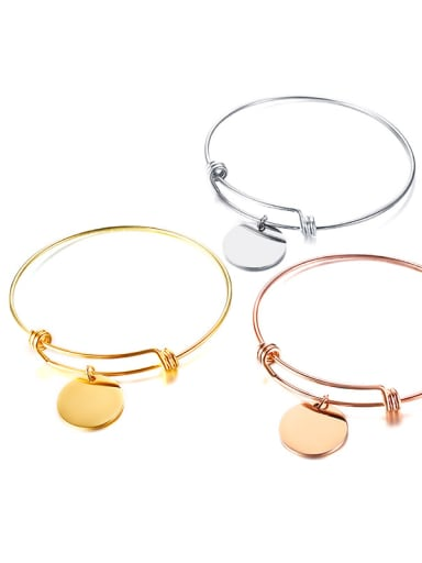 Stainless Steel Minimalist Style Round Card Modeling Bangles