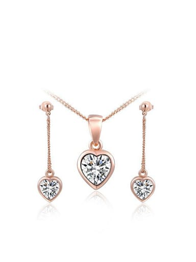 Alloy Rose Gold Plated Fashion AAA Zircon Heart Two Pieces Jewelry Set