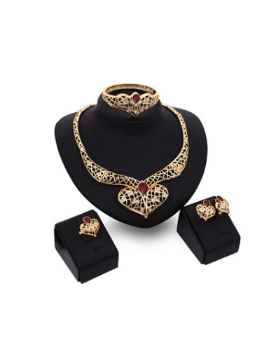 Alloy Imitation-gold Plated Fashion Artificial Stones Heart-shaped Hollow Four Pieces Jewelry Set