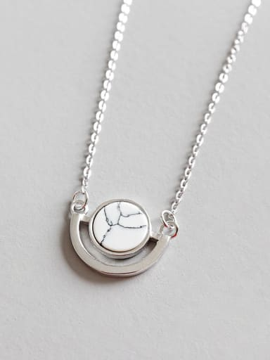 Sterling Silver Round marble Necklace