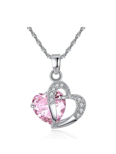 Fashion Heart Zircon Pendant Copper Necklace