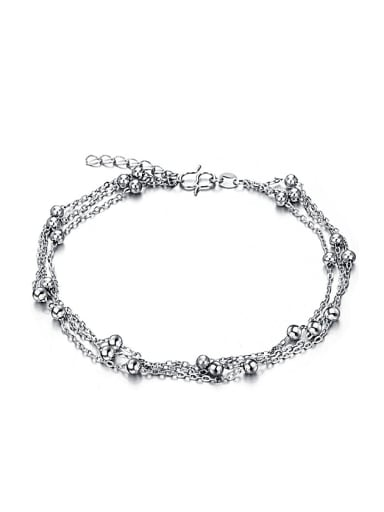 Simple Three Chain Little Beads Anklet
