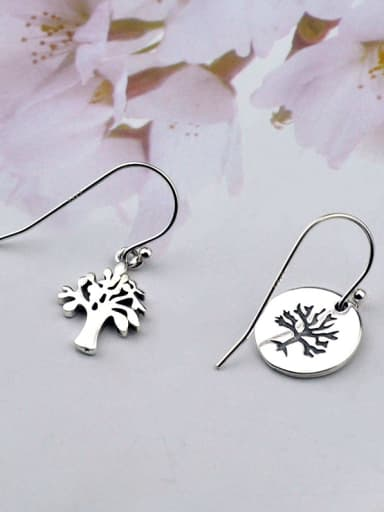 Vintage Sterling Silver  With Simplistic Small Tree Round Card Asymmetric  Hook Earrings