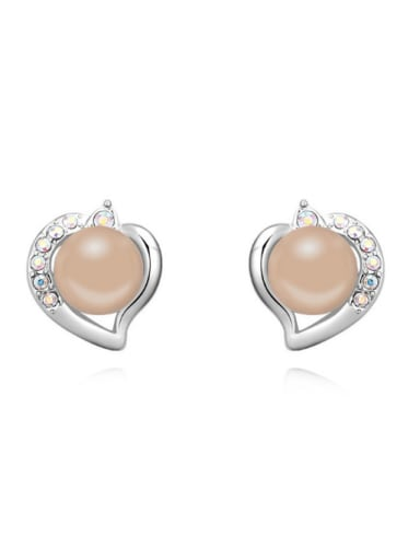 Fashion Imitation Pearl Crystals Heart Alloy Stud Earrings