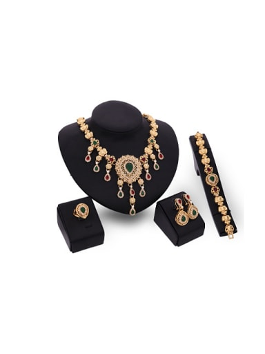 Alloy Imitation-gold Plated Vintage style Water Drop shaped Gemstones Flower Four Pieces Jewelry Set