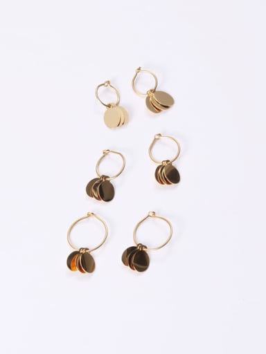 Titanium With Gold Plated Simplistic Round Clip On Earrings