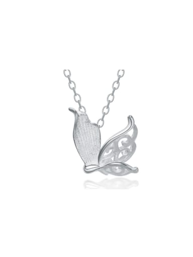 Lovely Hollowed Out Butterfly Silver Necklace