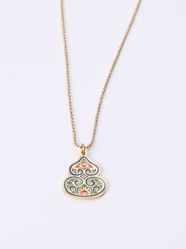 Titanium With Gold Plated Cute Green Gourd  Necklaces