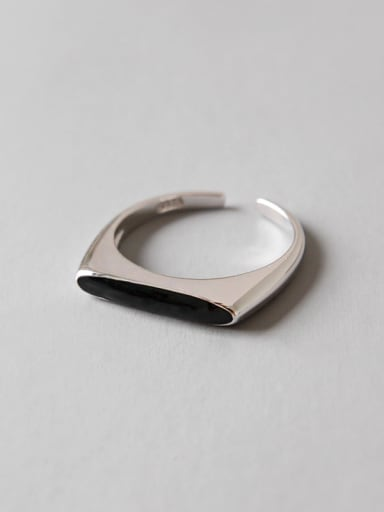 Sterling Silver personality black-enamel free size ring