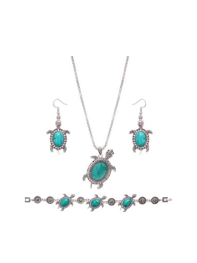Alloy Antique Silver Plated Vintage style Artificial Stones Sea Turtle Three Pieces Jewelry Set