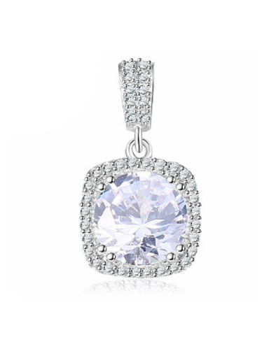 Charming 925 Silver Square Shaped Zircon Pendant