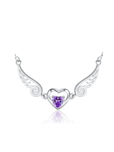Natural Amethyst Angle Wings Fashion Necklace