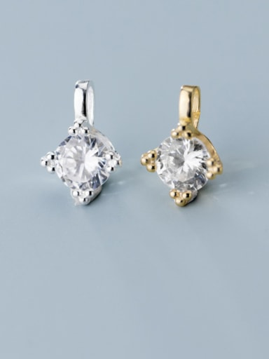 925 Sterling Silver With Cubic Zirconia Simplistic Geometric Charms