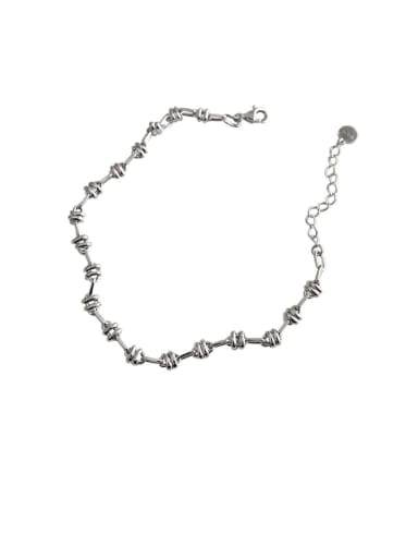 925 Sterling Silver With Platinum Plated Vintage Chain Lovers Bracelets