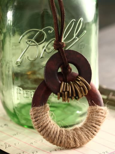 Delicate Wooden Round Shaped Necklace