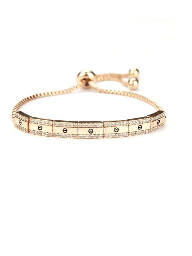Copper With Cubic Zirconia  Simplistic Geometric adjustable Bracelets