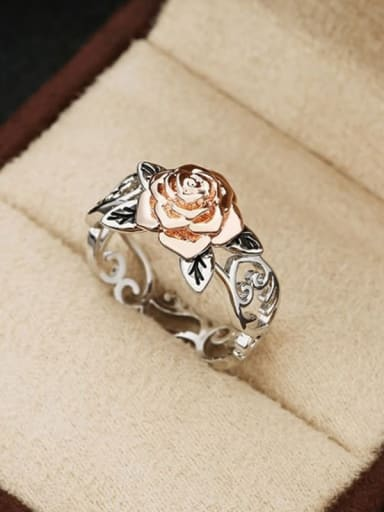 Copper With Sliver Plated Vintage Flower Band Rings