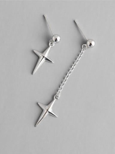 925 Sterling Silver With Silver Plated Simplistic Cross Short and long Stud Earrings
