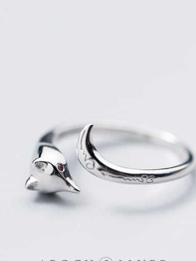 S925 Silver Ring female Department of the literary fox fox ring temperament personality can open the index finger J4455