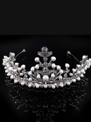 Luxury Crown-shape Artificial Pearls Party Wedding Hair Accessories