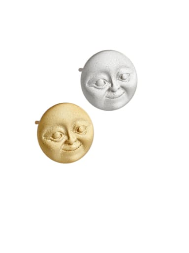 925 Sterling Silver With Gold Plated Personality Face Doll Round Stud Earrings