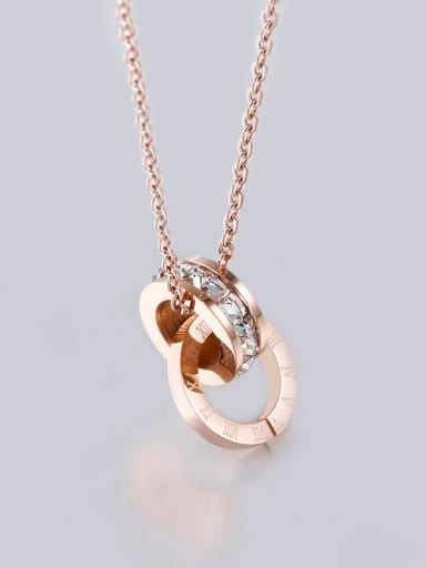 Rose Gold Stainless Steel Digital Shaped  Crystal Necklace
