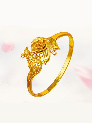 Copper Alloy 24K Gold Plated Ethnic Flower Phoenix Bangle