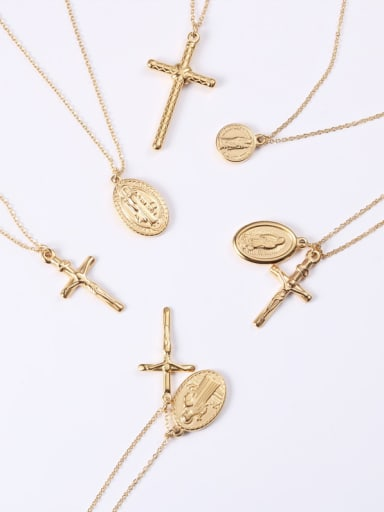 Alloy With Gold Plated Simplistic Cross Necklaces