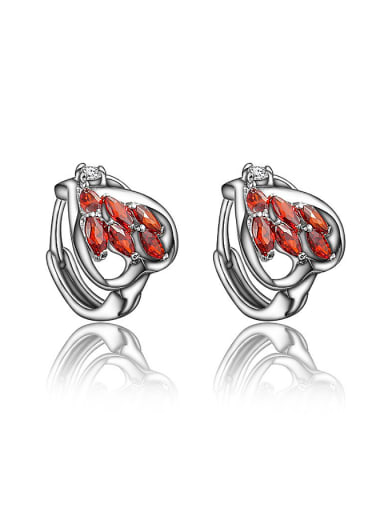 Exquisite Red Platinum Plated 4A Zircon Clip Earrings