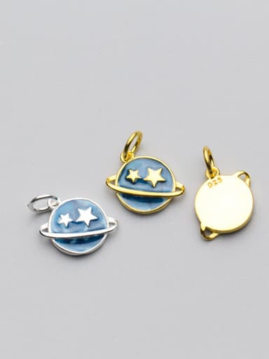 925 Sterling Silver With Gold Plated Trendy Round star Charms