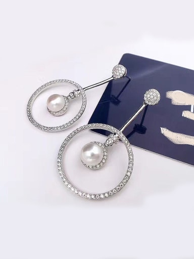 Freshwater Pearl Big Circle Zircon hoop earring