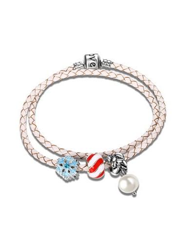 Temperament Snowflake Shaped White Leather Bracelet