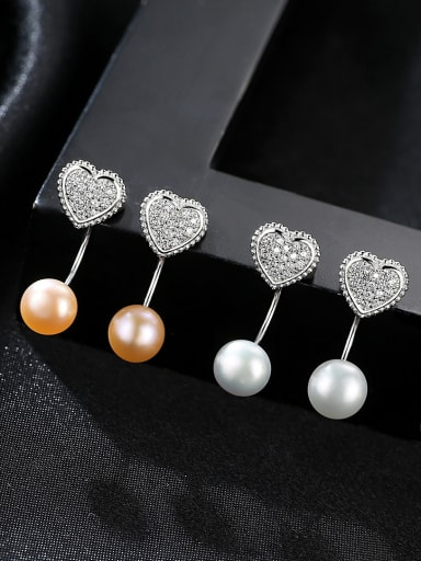 Sterling Silver with AAA zircon and natural pearl earrings