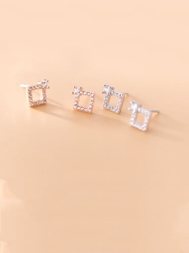 925 Sterling Silver With  Cubic Zirconia Cute Square Stud Earrings