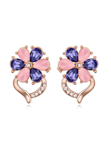Exquisite Water Drop Swarovski Crystals-accented Flower Stud Earrings