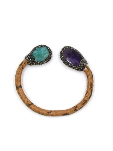 Creative Natural Crystals Leather Changeable Bangle