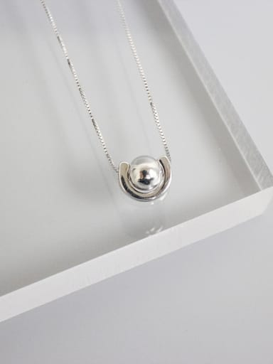 Simple Smooth Bead Pendant Silver Necklace